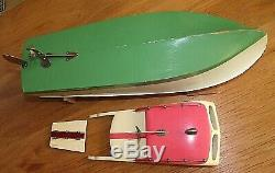 V/rare ITO TMY wood model boat made in occupied japan original box & stand vgc