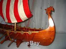Viking Dragon boat high quality hand made wooden model ship 32