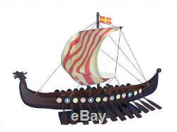 Viking Drakkar 24 Longship Model Boat Vessel Nordic Viking Vessel