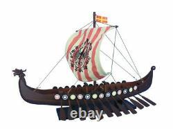 Viking Drakkar with Embroidered Raven Limited 24 Wood Viking Model Boat