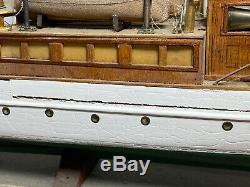 Vintage 1920s- 30s Roosevelt Model Boat Wood / Plastic on Stand