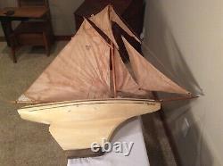 Vintage 1930s Large Nova Model-Wood Sailing Boat/Yacht France 5 Sails 40L, 44T
