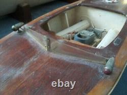 Vintage 1948 Wood CHRIS-CRAFT Electric Model Boat-Home Built- Iron Cross Flag