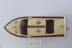 Vintage 1950's Ito Model KK Seisakusho Wood Model Boat withMotor Japan