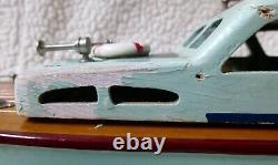 Vintage 1950's MHM JAPAN Wood Cabin Cruiser Battery Op Model Boat 14