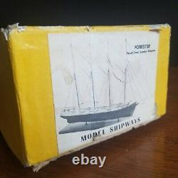 Vintage 1973 Model Shipways'Forester' Solid Hull Wood Ship Model Very Rare