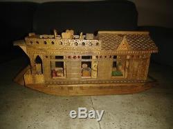 Vintage 1984 Hand Made Wood Kashmir India Model Boat House Chaku & Sons
