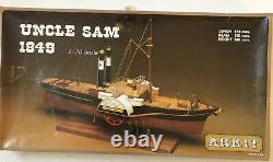 Vintage ARKIT Wood Model Tug Ship Paddleboat UNCLE SAM 1849 170 Scale