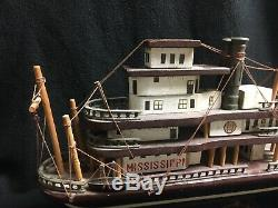 Vintage Antique Mississippi Steam Boat Wooden Ship Model Statue Ship Boat USA