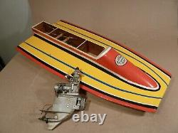 Vintage Dumas Deep Racing Boat Model 23 long with outboard motor