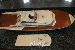 Vintage Gas Powered Wood Yacht Model Boat! Project Boat! Must See