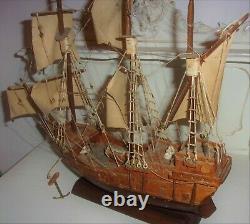 Vintage Hand Made Wooden Model Ship Boat Antique Elizabethan Wood Galleon