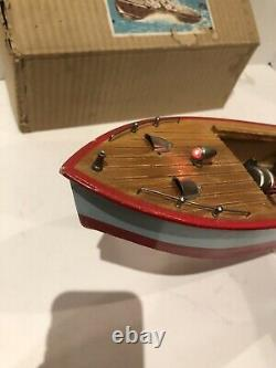 Vintage JAPANESE BATTERY OPERATED WOODEN SCALE MODEL BOAT 1950'S With BOX