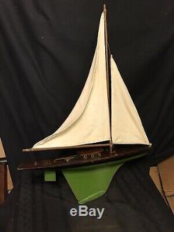 Vintage Jacrim Seaworthy Boats Toy Model Wood Pond Yacht Sail Boat SEA GULL 146