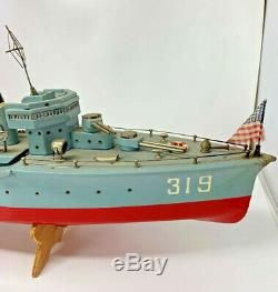Vintage Japan Destroyer Ship Boat Wood Model TMY ITO With Wood Crate 19-2404