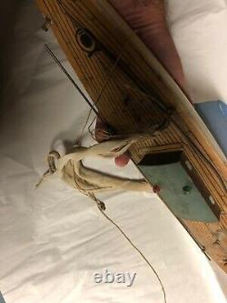 Vintage Keystone Wooden Metal Rudder & Keel 24 Pond Boat Model