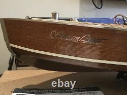 Vintage Kyosho Streamliner Electric Model Wooden Speed Boat