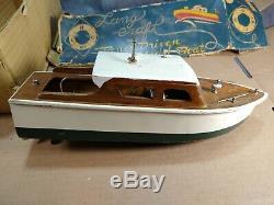 Vintage Lang Craft Battery Powered Driven Model Boat Wood