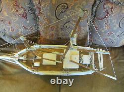 Vintage Large 41 Chesapeake Bay Pungy Sailboat Model Folk Art Hand Built Boat