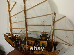 Vintage Large Chinese Junk/Boat Wooden Sculpture/Model Hand Made