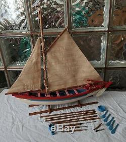 Vintage New Bedford WHALING BOAT MODEL handmade wood sailboat display pond yacht
