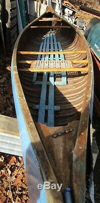 Vintage Old Town OTCA Model Canoe 17' wood canvas project boat camp lodge