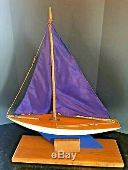 Vintage Rare English Wood Boat Toy Model Wooden Pond Yacht Sail Boat 20 Tall