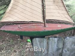 Vintage Rare Jacrim Seaworthy Boats Toy Model Wooden Pond Yacht flying cloud