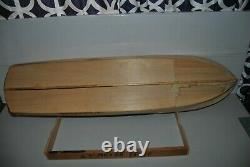 Vintage Rc 63' Motor Yacht Partially Built Wood Model Boat From A Sterling Kit