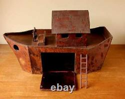 Vintage Scratch Built Wooden Noah's Ark. Handmade Folk Art Wood Model Ship Boat