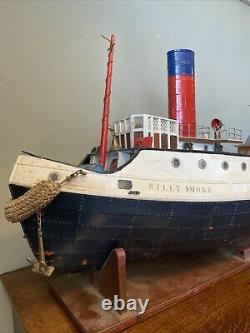Vintage Scratch Built Wooden RC Tug Boat Model 38 Inches Long