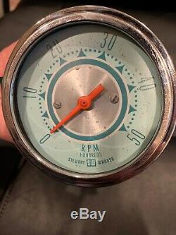 Vintage Stewart Warner Twin Blue Tach 5000 RPM Gauge SCTA Hot Rod Dash Panel