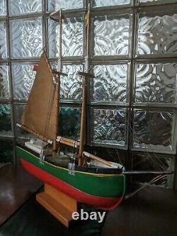 Vintage Wood Schooner SHIP WEATHERVANE Pond Yacht Model Boat 32x27 Mystic CT