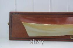 Vintage Wooden Half Hull Model Cornwall Mevagissey Lugger Maritime Nautical Boat