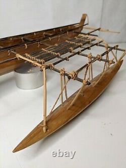 Vintage Wooden Outrigger Canoe Hand Carved Model Boat 29 Long 11 Wide