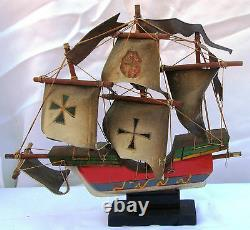 Vintage Wooden Sailing Ship Boat Model Wood (sh1124)