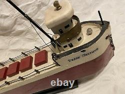 Vintage hand-made Great Lakes model pond boat Frank Seither ore ship