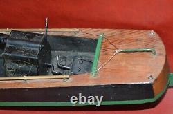 Vtg 1920s SEAWORTHY BOATS Wooden Toy Model 73 Wind Up Flying Yankee 26 Pond