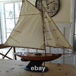 Vtg Wood Pond Model Yacht Ship Boat Sailboat Navy Blue Nautical Coastal Schooner