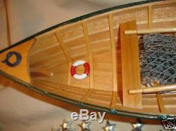 Wood ROW BOAT Skif Dory CANOE model rowboat skiff aprx 15 nautical theme wooden