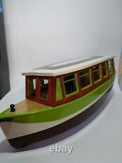 Wooden Handmae Model RC Boat Vintage with Futaba T2ER READ DESCRIPTION