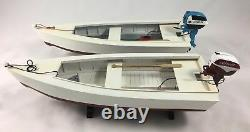 Wooden Skiff Boat Model with Johnson Outboard Motor and Gas Tank