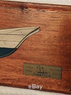 1851 Coupe Amérique Du Voile Bateau Bateau Demi Coque Modele -bois Plaque Murale
