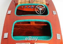 1938 Chris Craft Triple Cockpit Runabout Modèle En Bois 32 Painted Boat Nouveau