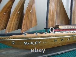 1960's Vintage Large 33 Wood Sailboat Ship Model Ayhan Boat Shop Sinop Turquie