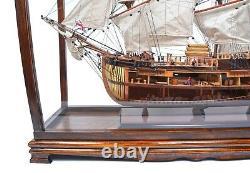 34 Grande Vitrine En Bois De Table Avec Plexiglas Pour Les Modèles De Bateaux De Yacht