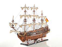 37 X 30 Armada Espagnole Galleon San Felipe Ouvrir Coque En Bois Modèle Bateau Assemblé