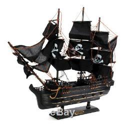 80cm Modèle Noir Pirate Ship Vintage Wood Voilier Bateau À Voile, Découpé Au Laser