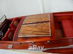 Ancien! 32 Bateau Artisanal En Acajou De Modèle Chris Craft Runabout En Bois