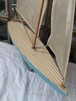 Antique 1940 Keystone Bois Étang Yacht Modèle Bateau Voilier Quille Métal
